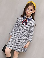 Girl's Casual/Daily Striped Dress,Cotton Polyester Spring Fall Long Sleeve