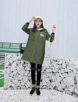 Impermeabile Da donna Casual Semplice Autunno,Alfabetico Con cappuccio Cotone Lungo Manica lunga
