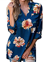Women's Holiday Casual/Daily Street chic Fall Shirt,Floral V Neck 3/4 Length Sleeves Polyester