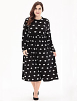 Women's Plus Size Casual/Daily Street chic Swing Dress,Polka Dot Print Round Neck Midi Long Sleeves Polyester Fall High Rise Micro-elastic