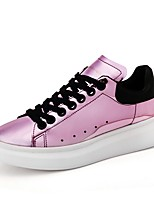 Women's Shoes Patent Leather Spring Fall Comfort Sneakers Flat Heel Round Toe Lace-up For Casual Blushing Pink Red Silver Gold