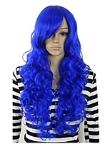 Women Synthetic Wig Capless Long Curly Royal Blue Party Wig Halloween Wig Cosplay Wig Costume Wig