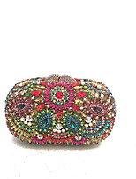 Women Bags All Seasons Metal Evening Bag Crystal Detailing for Wedding Event/Party Blue Red