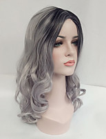 Women Synthetic Wig Capless Medium Length Wavy Black/Grey Side Part Ombre Hair Dark Roots Natural Wigs Costume Wig