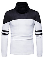 Men's Going out Casual/Daily Simple Regular Pullover,Striped Color Block Cowl Neck Long Sleeves Cotton Fall Winter Medium Stretchy