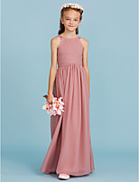 A-Line Princess Crew Neck Floor Length Chiffon Junior Bridesmaid Dress with Draping Ruching by LAN TING BRIDE®