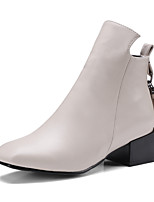 Women's Shoes Leatherette Fall Winter Fashion Boots Boots Chunky Heel Square Toe Booties/Ankle Boots Zipper Tassel For Casual Dress Gray