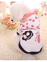 Cane Felpe con cappuccio Abbigliamento per cani Casual Frutta Bianco