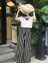 Women's Going out Simple Summer T-shirt Skirt Suits,Striped V Neck Short Sleeve