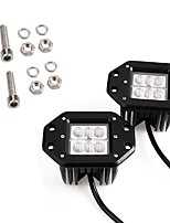 2PCS Mini Design 4 Inches 18W 1800LM 6000K LED Work Light Original Lighting Pattern Fitted for Motorcycle Truck 4X4 Off-road SUV ATV Vehicle