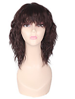 Women Synthetic Wig Capless Short Medium Afro Jheri Curl Dark Auburn African American Wig For Black Women Layered Haircut Party Wig