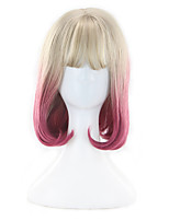 Women Synthetic Wig Capless Short Natural Wave Pink Ombre Hair Bob Haircut Party Wig Halloween Wig Cosplay Wig Costume Wig
