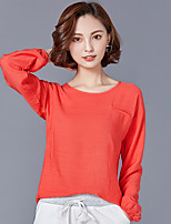 Women's Going out Chinoiserie T-shirt,Solid Round Neck Long Sleeves Linen