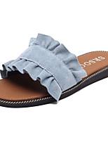Women's Shoes PU Summer Light Soles Slippers & Flip-Flops Flat Heel Open Toe Split Joint For Casual Blue Beige Black