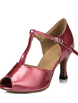Women's Latin Faux Leather Sandal Performance Buckle Cuban Heel Fuchsia Beige Gold 2