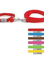 Collar Leash With Bell Polka Dot Nylon