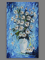Hand-Painted Floral/Botanical Vertical Panoramic,Artistic Abstract Cool One Panel Canvas Oil Painting For Home Decoration