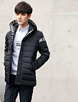 Men's Regular Down Coat,Simple Street chic Plus Size Casual/Daily Solid Letter-Polyester White Duck Down Long Sleeves