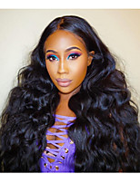 Women Human Hair Lace Wig Brazilian Human Hair Lace Front 130% Density Layered Haircut With Baby Hair Wavy Wig Black Medium Brown Dark