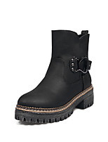 Unissex Sapatos Courino Outono Inverno Botas da Moda Botas Salto Grosso Ponta Redonda Botas Curtas / Ankle Presilha Combinação Para
