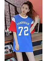 Women's Sports Going out Street chic Active Summer T-shirt,Color Block Letter Round Neck Short Sleeves Cotton Opaque