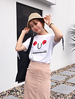 Women's Casual/Daily Simple Summer T-shirt,Solid Print Letter Round Neck Short Sleeves Cotton