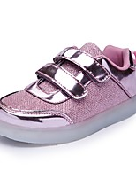 Girls' Shoes Synthetic Microfiber PU Fall Winter Light Up Shoes Comfort Sneakers Lace-up For Casual Party & Evening Blushing Pink Silver