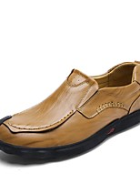 Men's Shoes Cowhide Leatherette Spring Fall Comfort Loafers & Slip-Ons Split Joint For Casual Khaki Brown Black