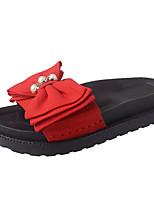 Women's Shoes PU Summer Comfort Slippers & Flip-Flops Flat Heel Open Toe Bowknot For Casual Dress Green Red Black