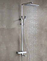 Modern/Comtemporary Contemporary Wall Mounted Rain Shower Handshower Included with  Ceramic Valve Chrome , Shower Faucet