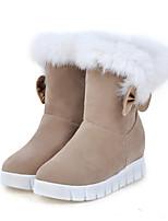 Femme Chaussures Daim Automne Hiver Bottes de neige Bottes à la Mode Confort Nouveauté Bottes Talon Plat Bout rond Bottes Mi-mollet Plume