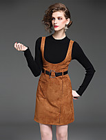YIYEXINXIANG Women's Casual/Daily Work Sophisticated Fall T-shirt Skirt Suits,Solid Round Neck Long Sleeve Micro-elastic