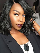 Women Human Hair Lace Wig Peruvian Human Hair Glueless Full Lace 130% Density Bob Haircut With Baby Hair Loose Wave Wig Black Short