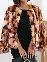 Women's Party Casual/Daily Vintage Cute Street chic Winter Fur Coat,Camouflage Round Neck Long Sleeve Short Faux Fur Fox Fur