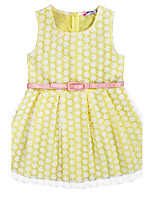 Girl's Birthday Casual/Daily Holiday Jacquard Dress,Cotton Summer Sleeveless