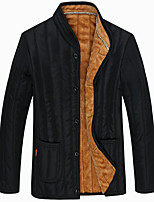 Men's Regular Padded Coat,Simple Plus Size Casual/Daily Solid-Rayon Polyester Polypropylene Long Sleeves