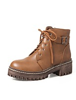 Women's Shoes PU Fall Winter Comfort Boots Chunky Heel Round Toe Zipper Lace-up For Outdoor Office & Career Khaki Brown Black