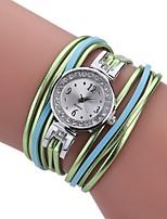 Damen Modeuhr Armband-Uhr Einzigartige kreative Uhr Chinesisch Quartz PU Band Vintage Bettelarmband Bequem Elegante Schwarz Weiß Blau