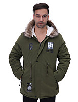 Men's Regular Padded Coat,Simple Plus Size Print-Cotton Polyester Cotton Long Sleeves