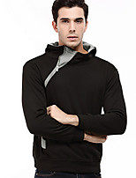 Men's Plus Size Plus Size Casual/Daily Simple Hoodie Solid Color Block Hooded Micro-elastic Cotton Long Sleeve Fall Winter