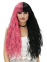 Donna Parrucche sintetiche Senza tappo Lungo Onda effetto mare Nero / Anguria Rosso Parrucca di Halloween costumi parrucche