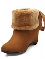 Feminino Sapatos Couro Ecológico Outono Inverno Botas da Moda Botas Anabela Ponta Redonda Botas Curtas / Ankle Cadarço Para Casual Preto