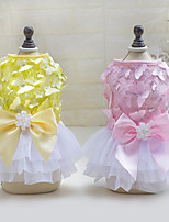 Dog Dress Dog Clothes Casual/Daily Princess Yellow Pink