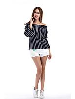 Tee-shirt Femme,Rayé Vacances Décontracté / Quotidien simple Chic de Rue Automne Manches Longues Bateau Polyester