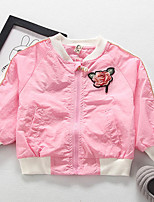 Girls' Floral Embroidered Jacket & Coat,Cotton Spring Fall Long Sleeve