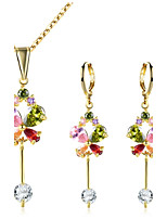 Women's Drop Earrings Necklace Cubic Zirconia Fashion Classic Zircon Alloy Flower Geometric Earrings Necklace For Wedding Evening Party