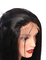 Women Human Hair Lace Wig Peruvian Human Hair Glueless Lace Front 130% Density With Baby Hair Straight Wig Medium Brown Dark Brown Black
