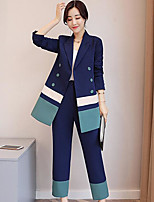 Tuta Da donna Casual Ufficio Semplice Autunno,Tinta unita A strisce Monocolore Colletto Poliestere Standard Manica lunga