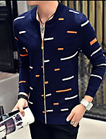 Men's Work Regular Cardigan,Print Round Neck Long Sleeves Others Spring Fall Medium Micro-elastic