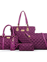 Women Bags All Seasons Nylon Bag Set Zipper for Casual Formal Blue Black Blushing Pink Purple
